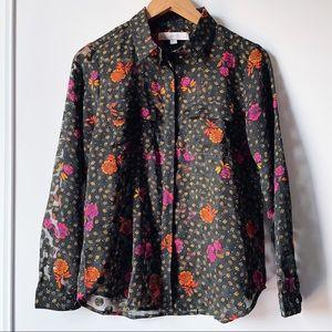 LOFT sheer polka dot floral button down blouse